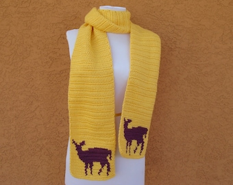 Deer Scarf for Women - Yellow Scarf - Purple Doe - Crochet, Crocheted Whimsical Deer Scarves - Long, Soft, Warm Winter Scarf MADE TO ORDER