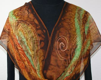 Silk Scarf Chiffon Hand Painted Brown, Green, Terracotta Handmade Chiffon Shawl DANCING TREES, in 4 SIZES. Mother Gift, Christmas Gift