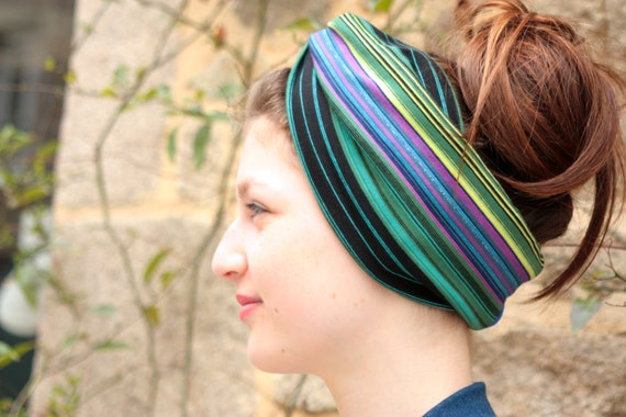 Headband-Turban style Retro bicolor Bayadere stripe and blue Jersey cotton. Headband