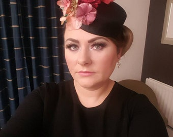 pillbox floral hat fascinator vintage look