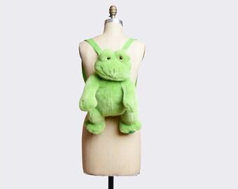 Vintage 90s Plush Frog BACKPACK / 1990s Green Fur Daypack School Bag PURSE