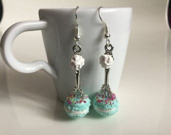 Earrings small fork and the polymer clay macaron
