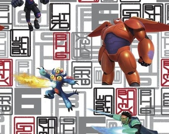 "Disney Fabric - Disney Big Hero 6  Character Toss 100% cotton fabric by yard 36""x43"" (SC427)"