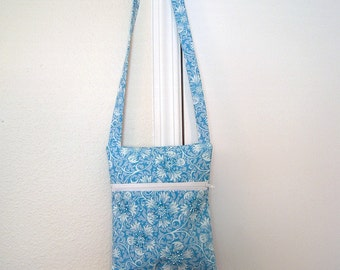 Hand Beaded Baby Blue Cross-Body Bag