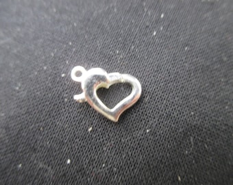 2 silver heart 12 mm lobster clasps