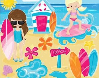 80% OFF SALE Surfer girls clipart, clipart commercial use, vector graphics, digital clip art, digital images - CL902