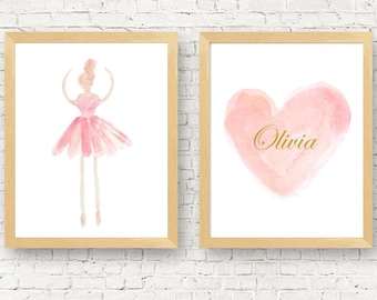 Ballerina Gift, Set of 2-11x14, Ballerina Wall Art, Dance Prints, Ballet Room Decor, Pink Ballet Prints, Kids Ballet Print, Ballerina Decor