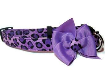 Purple Leopard Dog Collar size Large