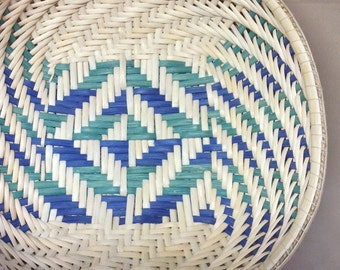 Hand Woven Twill Bowl Basket, Kelly Green and Royal Blue