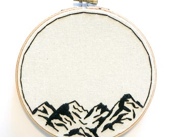 M O U N T A I N, Black & White Outline, Hoop Art, Hand Embroidery