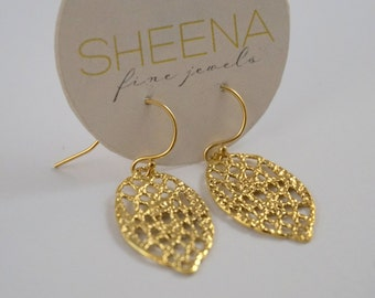 Ready to ship- Lace drop earrings in 14k gold filled