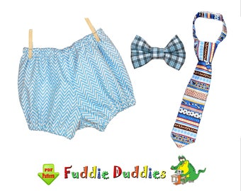 Diaper Cover Set, Boys Bow Tie Pattern Necktie & Bloomer Pattern pdf Sewing Pattern. Infant, Baby Sewing Pattern. PDF DOWNLOAD Billy