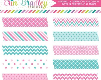 80% OFF SALE Pink & Blue Digital Labels Clipart Graphics Striped Polka Dotted Chevron Patterns Instant Download Clip Art