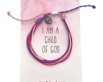 I am a Child of God primary 2018, Pink threaded bracelet with tiny crown charm,  friendship wax cord bracelet, adjustable thread bracelet
