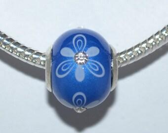 European Acrylic Blue Flower Bead with Rhinestone Center