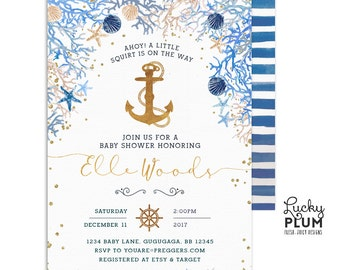 Nautical Baby Shower Invitation / Anchor Baby Shower Invitation / Ocean Baby Shower Invitation / Coed Baby Shower Invitation / Watercolor