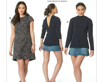 McCall's Sewing Pattern M7628 Misses' V-Back, Raglan-Sleeve Top and Dress