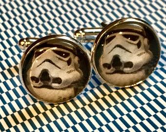 Storm trooper glass cabochon cufflinks - 16mm