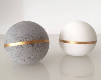 Geometric Concrete Copper Decor Sculptures, Concrete Sphere, paperweight, beton bookend