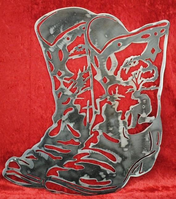 Cowboy Boots, Praying Cowboy, Metal Cowboy Boots, Western Decor, Horse Ranch Decor, Mountain Home Decor, Gift to a Cowboy, Gift for Her