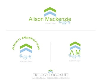 Trilogy Logo Suit,Primary Logo,Secondary Logo,Sub Logo,Black & White Watermarks-Chevron,Solid Color-Green,Blue,White-Logo Branding Package
