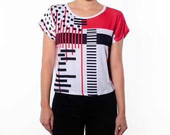 Women's Top,Red Black Geometric Print Box Cut Tee