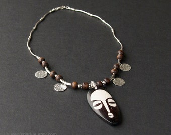 African tribal mask sterling silver necklace. African mask beaded necklace. Brown wood beaded necklace. Original silver jewellery.