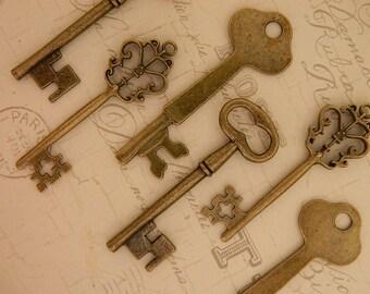 12 skeleton keys bronze old keys wholesale jewlery supply wedding favors home decor steampunk bulk skeleton keys craft supplies metal charms