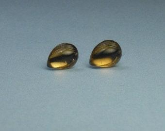 Vintage Topaz Etched Leaf Stud Earrings
