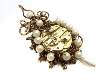 Versailles steampunk brooch