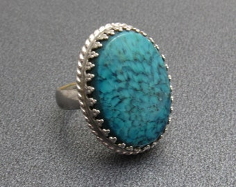Whiting and Davis Vintage Ring Mottled Blue Glass Jewelry