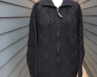 Vintage Black Irish Sweater // Vintage Zip up Sweater // Vintage Fisherman Sweater