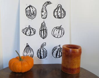 Fall Festival Gourds Linocut Art