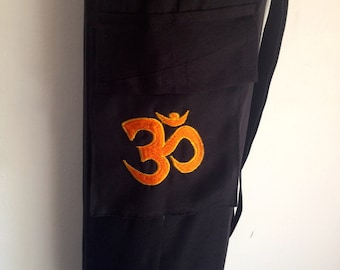 Yoga Mat Bag black Pilates Mat Bag Cotton Orange Om Ohm Aum handmade Embroidered Adjustable carry strap  with or without pocket lightweight