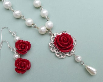 Red rose Pearl Necklace, Red Rose Earrings, Bridesmaid Pearl Necklace, Red Rose  Necklace, Bridesmaid Gift, Holiday Red necklace