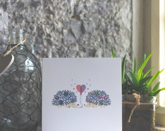 Happy Anniversary Hedgehog card with love heart design professionally printed on quality card