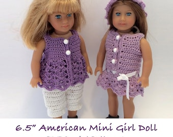Instant Download - PDF Crochet Pattern - American Mini Girl Doll Clothes 2 - Dress, top, bloomers and hat