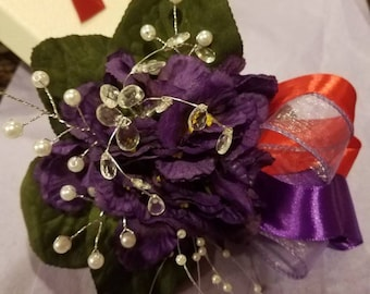 African Violet & Pearl Corsage