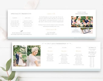 Pricing Templates for Photographers - Photographer Pricing Guide Template Trifold - Accordion Trifold Brochure - INSTANT DOWNLOAD!