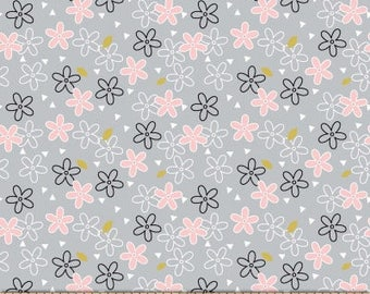 Metallic Glitter Daisy on Cloud from Michael Miller Fabric's Believe Collection by Sandra Clemson