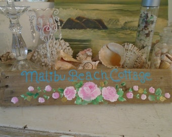 Malibu Beach Cottage Wood Sign Shabby Chic Beautiful Sign with Pink Roses Hand Painted Cottage Chic Sign Beach Decor