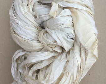 Silk Sari Ribbon, Silk Ribbon, Sari Ribbon, Undyed Sari Ribbon, Wide Silk Ribbon
