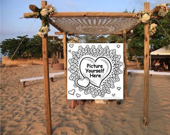 8 Foot Giant Crochet  Mandala White Cream Ivory Ecru June Bride Beach Wedding Lace Canopy Bed Lace Chuppah Wedding Cover Decor