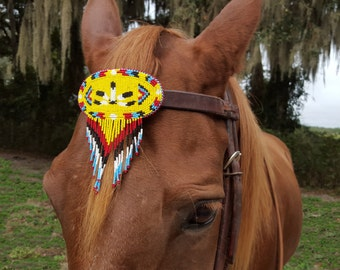 Yellow War Bonnet Seed Beaded Equine Browband Ornament with Dangles -  Native American Style Horse Ornament