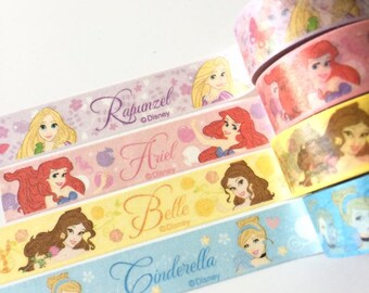 4 rolls 15mm x 5m, princess washi tape Rapunzel, Ariel, Belle, Cinderella