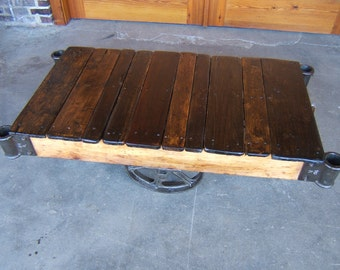 Restored Factory cart coffee table Vintage Nutting-Thomas style N1610