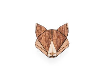 Fox Wooden Brooch