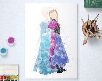 Elsa and Anna, Disney Princess, Frozen Poster, Watercolour Art, Printable Instant Download