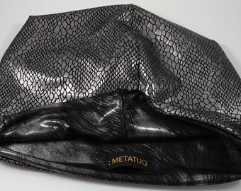 Hat reversible reptile skin black and silver on one side, patterned black and silver on the other