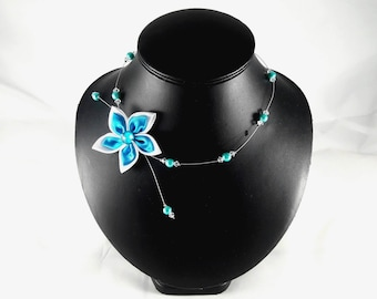 Loane wedding white and turquoise collar necklace customizable